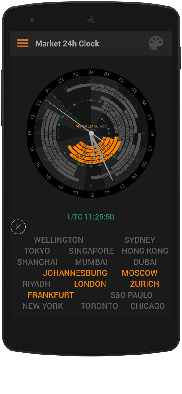Market 24h Clock app: Dark Layout