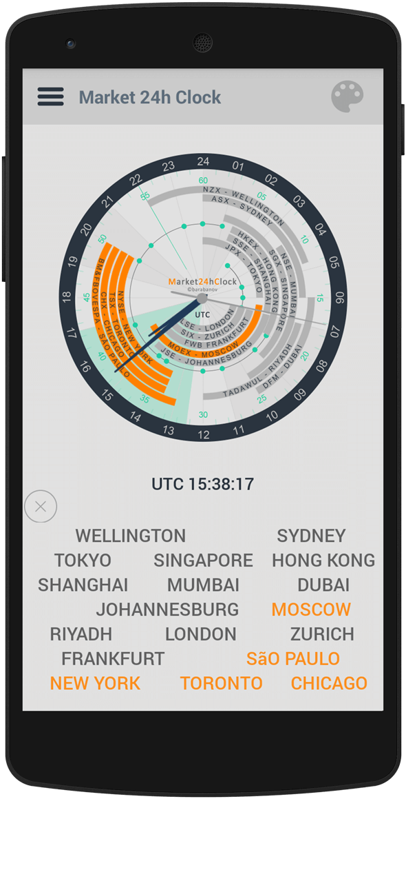 Market 24h Clock app: show or hide cities