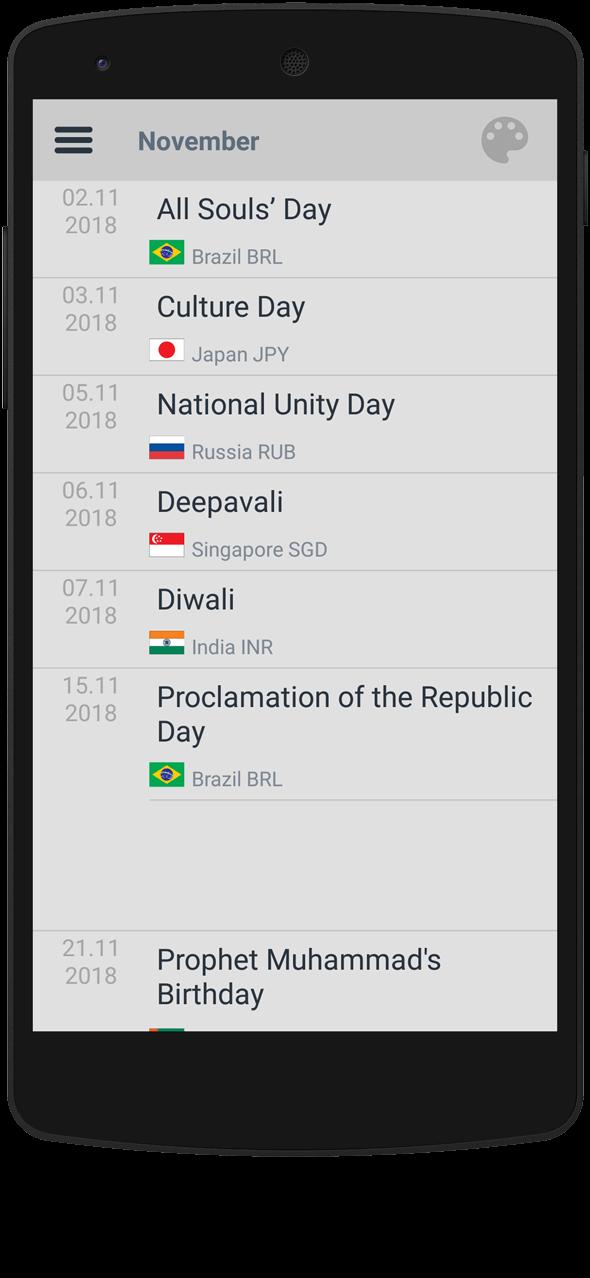 Market 24h Clock app: Holidays Calendar