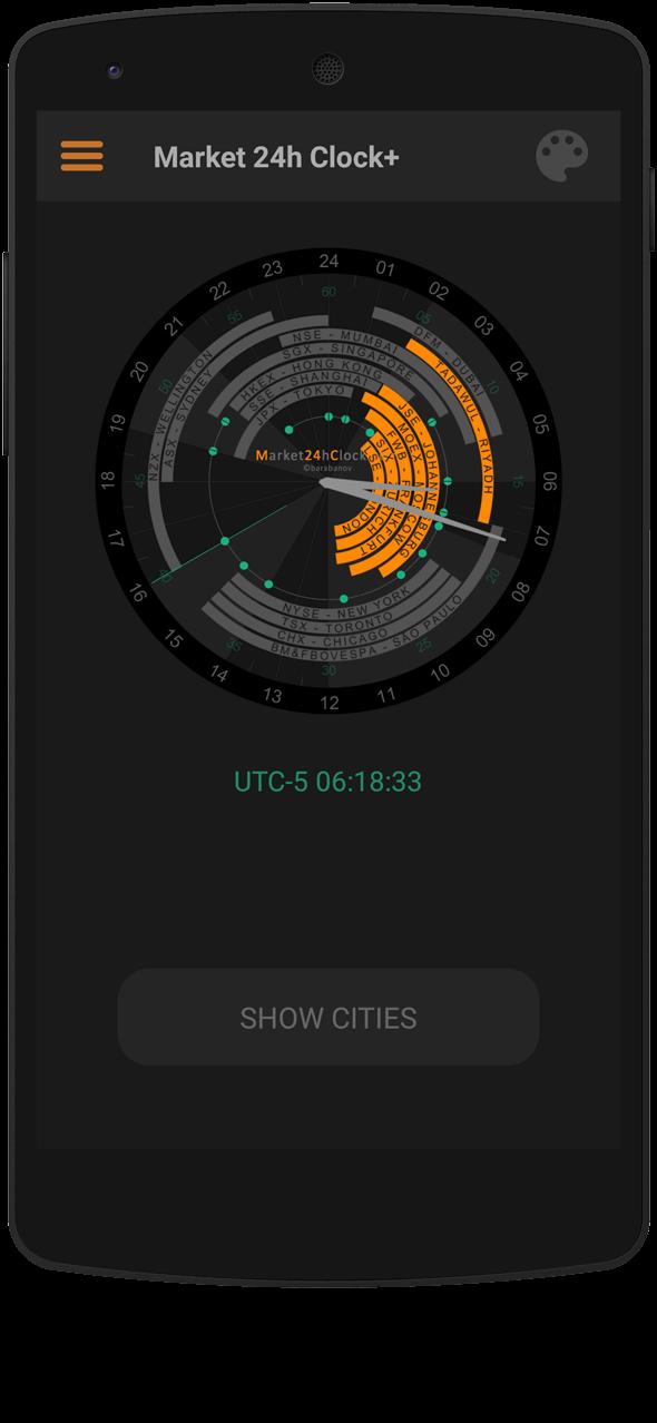 Market 24h Clock app: Dark Layout