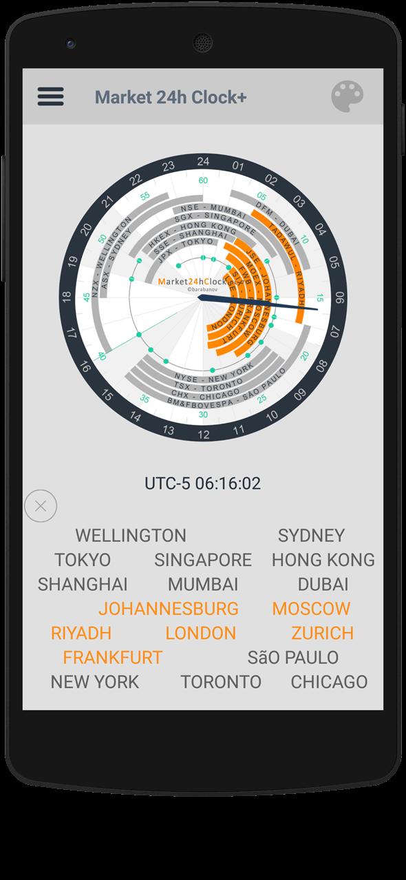 Market 24h Clock app: show or hide cities