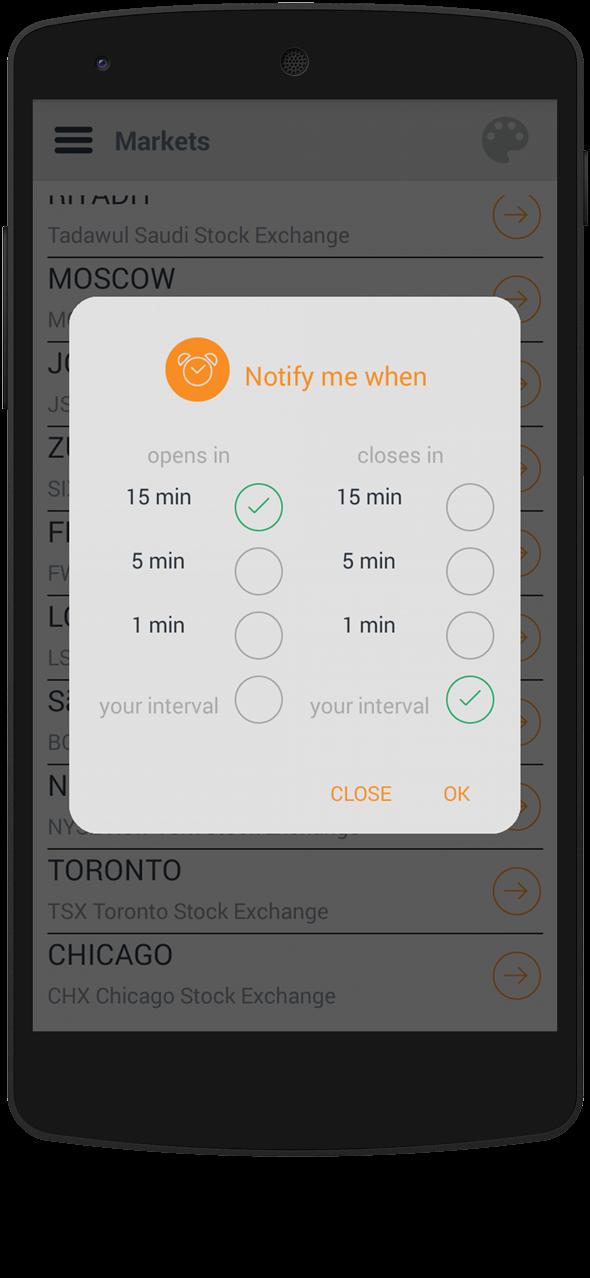 Market 24h Clock app: notifications